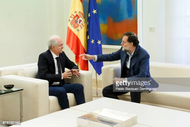 Former mayor of Caracas Antonio Ledezma meets Spanish Prime Minister Mariano Rajoy at the Moncloa Palace after his arrival by plane from Colombia on...