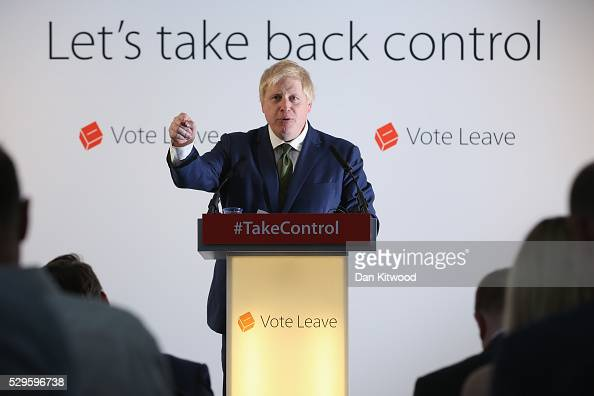 Former Mayor of London Boris Johnson delivers a 'Vote Leave' speech on May 9 2016 in London England Mr Johnson laid out his case for 'Brexit' to...
