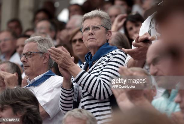 Former mayor of MontdeMarsan and incumbent Junior Minister for Defence Genevieve Darrieussecq attends bullfights at Plumacon arena in MontdeMarsan...