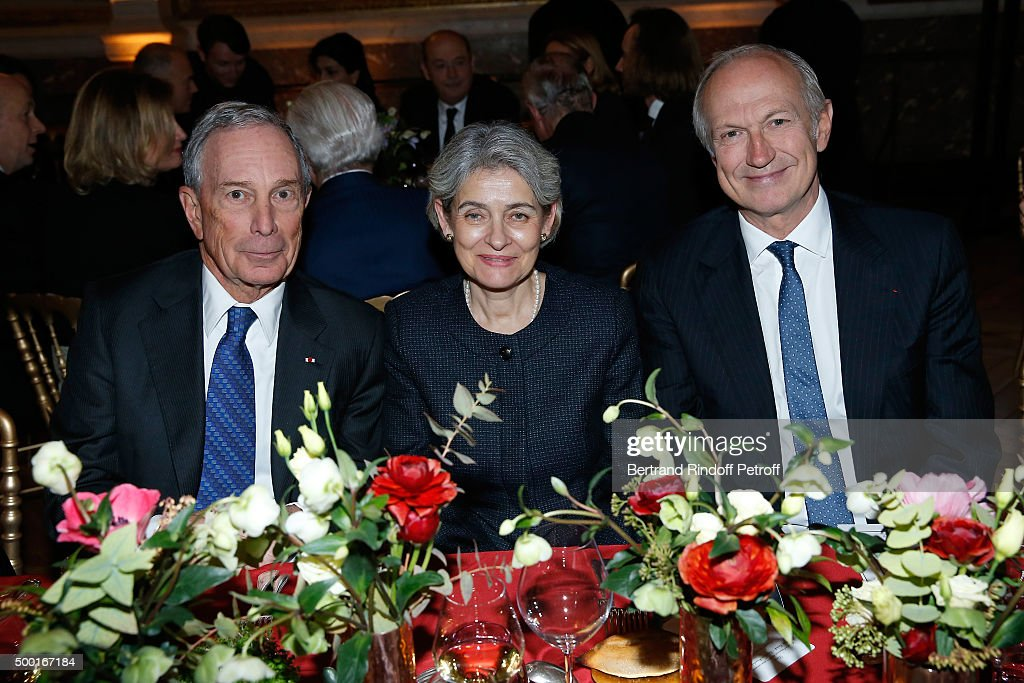 Former Mayor of New York City, <a gi-track='captionPersonalityLinkClicked' href=/galleries/search?phrase=Michael+Bloomberg&family=editorial&specificpeople=171685 ng-click='$event.stopPropagation()'>Michael Bloomberg</a>, Bulgarian Politician, <a gi-track='captionPersonalityLinkClicked' href=/galleries/search?phrase=Irina+Bokova&family=editorial&specificpeople=6324408 ng-click='$event.stopPropagation()'>Irina Bokova</a> and L'Oreal CEO, <a gi-track='captionPersonalityLinkClicked' href=/galleries/search?phrase=Jean-Paul+Agon&family=editorial&specificpeople=675160 ng-click='$event.stopPropagation()'>Jean-Paul Agon</a> attend the 'France-USA' Gala Dinner at Chateau de Versailles on December 5, 2015 in Versailles, France.