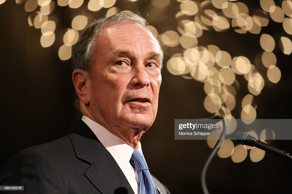 Former Mayor of New York City, <a gi-track='captionPersonalityLinkClicked' href=/galleries/search?phrase=Michael+Bloomberg&family=editorial&specificpeople=171685 ng-click='$event.stopPropagation()'>Michael Bloomberg</a>, speaks at the 'Not One More' Event at Urban Zen on February 10, 2015 in New York City.