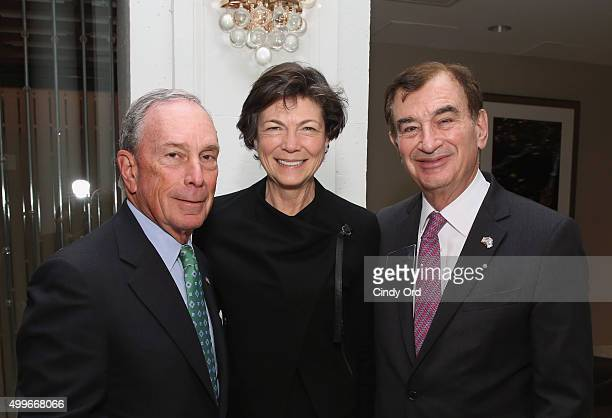 Former Mayor of New York City Presenter Michael Bloomberg Diana Taylor and AFMDA Chairman Dinner Chair Mark Lebow attend AFMDA Red Star Gala at The...