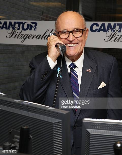Former Mayor of New York City Rudy Giuliani attends the annual Charity Day hosted by Cantor Fitzgerald and BGC at Cantor Fitzgerald on September 11...