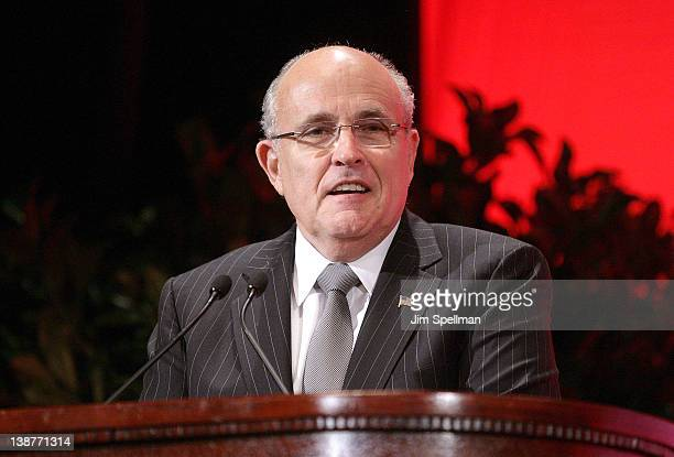 Former Mayor of New York City Rudy Giuliani attends the Symposium to mark the 33rd Anniversary of the Iranian Revolution at The Waldorf=Astoria on...