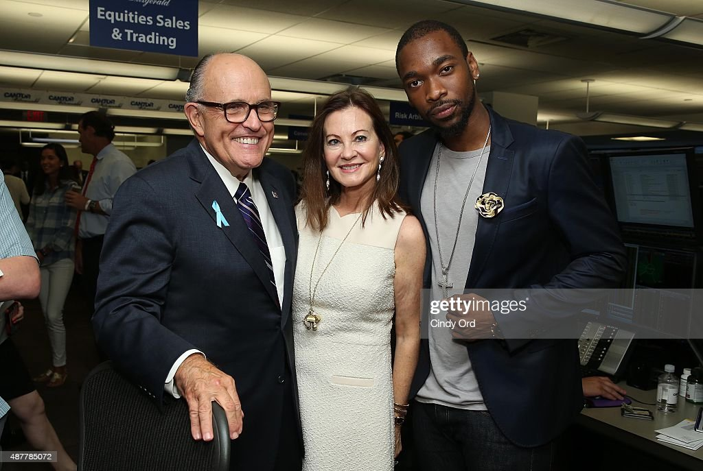 Former Mayor of New York City Rudy Giuliani Judith Giuliani and actor Jay Pharoah attend the annual Charity Day hosted by Cantor Fitzgerald and BGC...