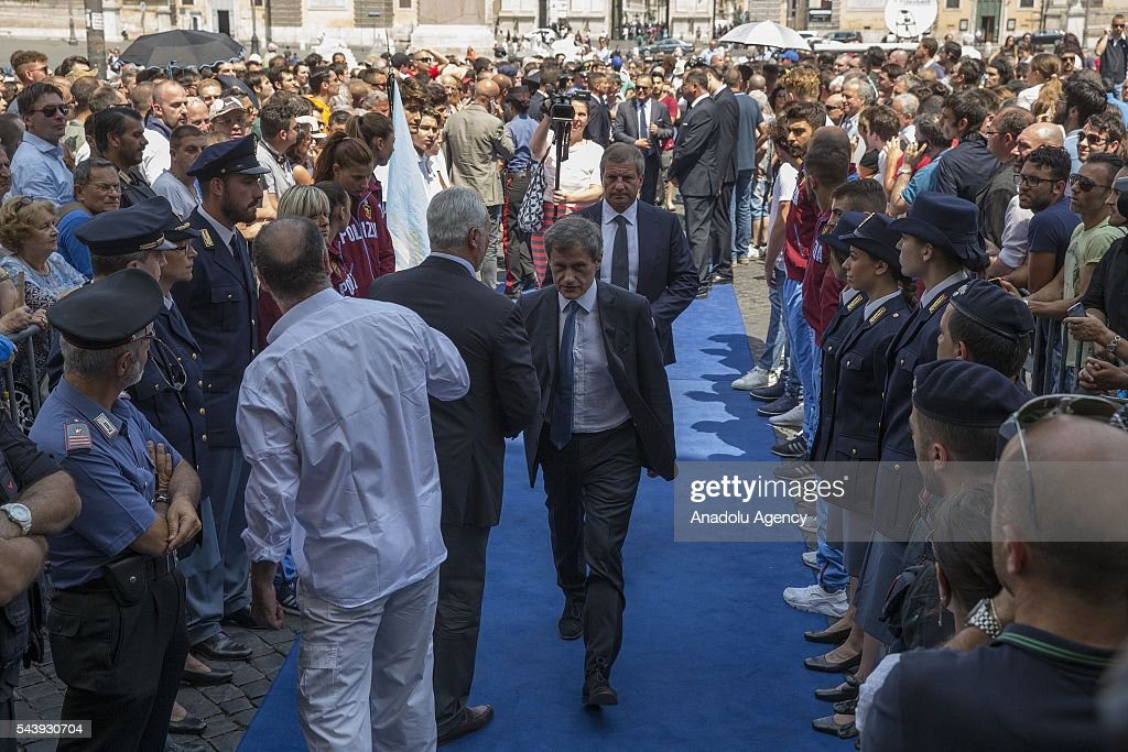 Former mayor of Rome Gianni Alemanno attends the funeral ceremony of Italian actor Carlo Pedersoli also known as Bud Spencer outside the Santa Maria in Montesanto at Piazza del Popolo in Rome, Italy, 30 June 2016.