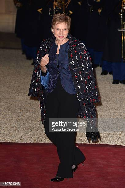 Former Medef's head Laurence Parisot arrives at the Elysee Palace for an official dinner hosted by French President Francois Hollande as part of a...