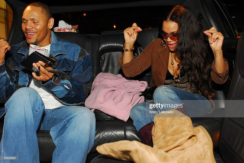 Former member of the band Sara Stokes and her husband Tony dances in their limousine November 1, 2006 in New York City.