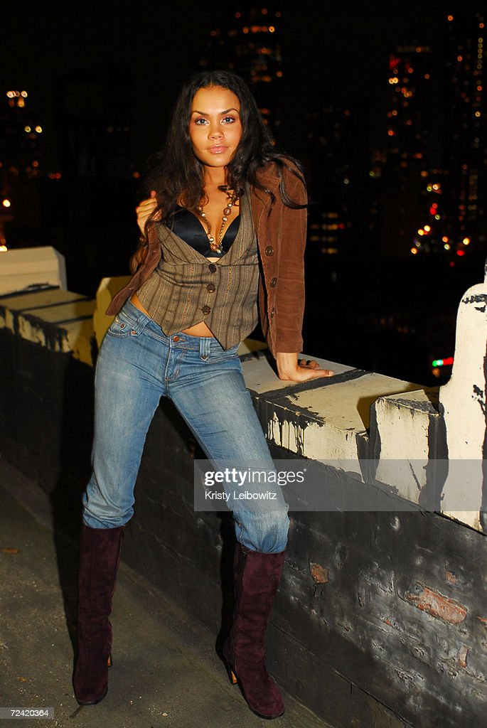 Former member of the band Sara Stokes poses for the photogrpher outside on the balcony of Heavy.com office, November 1, 2006 in New York City.
