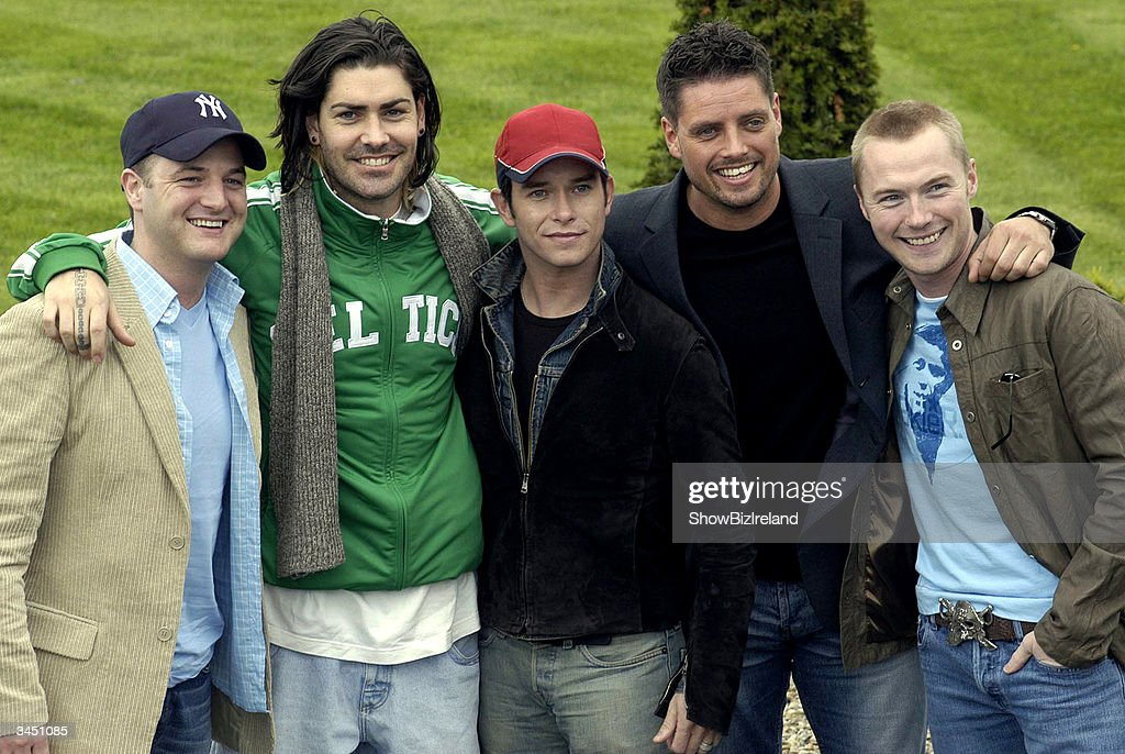 Former member sof Boyzone (L-R) Mikey Graham, Shane Lynch, Stephen Gately, Keith Duffy and Ronan Keating attend a press conference at the Palmerstown Stud Golf Club to officially launch the 3rd annual celeb golf classic in aid of the Irish Autism Alliance April 20 2004 in Dublin Ireland.