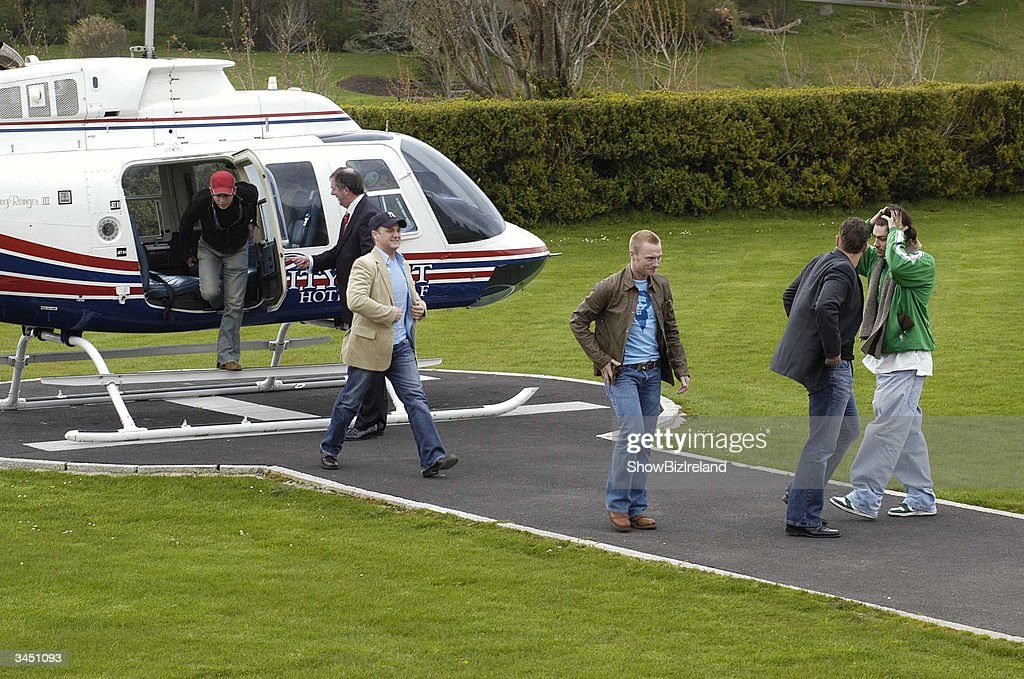 Former member sof Boyzone (L-R) Stephen Gately, Mikey Graham, Ronan Keating, Keith Duffy and Shane Lynch arrive for a press conference at the Palmerstown Stud Golf Club to officially launch the 3rd annual celeb golf classic in aid of the Irish Autism Alliance April 20 2004 in Dublin Ireland.