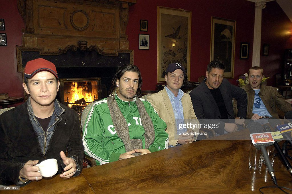 Former member sof Boyzone (L-R) Stephen Gately, Shane Lynch, Mikey Graham, Keith Duffy and Ronan Keating attend a press conference at the Palmerstown Stud Golf Club to officially launch the 3rd annual celeb golf classic in aid of the Irish Autism Alliance April 20 2004 in Dublin Ireland.