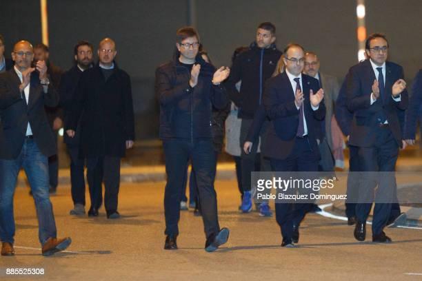 Former members of Catalan government Raul Romeva Carles Mundo Jordi Turull and Josep Rull leave Estremera prison on December 4 2017 near Estremera in...