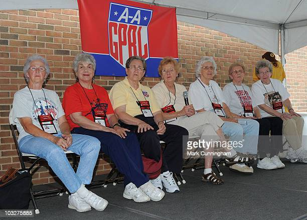 Former members of the AllAmerican Girls Professional Baseball League attend a reunion QA session before the game between the Detroit Tigers and the...