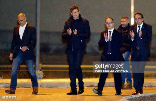 Former members of the Catalan government Raul Romeva Carles Mundo Jordi Turull and Josep Rull leave Estremera prison on December 4 2017 near...