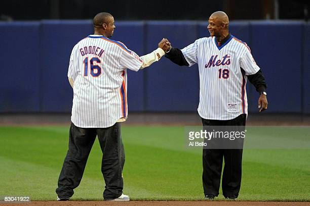 Former Mets Dwight Gooden and Daryl Strawberry greet for a post game ceremony after the last regular season baseball game ever played in Shea Stadium...