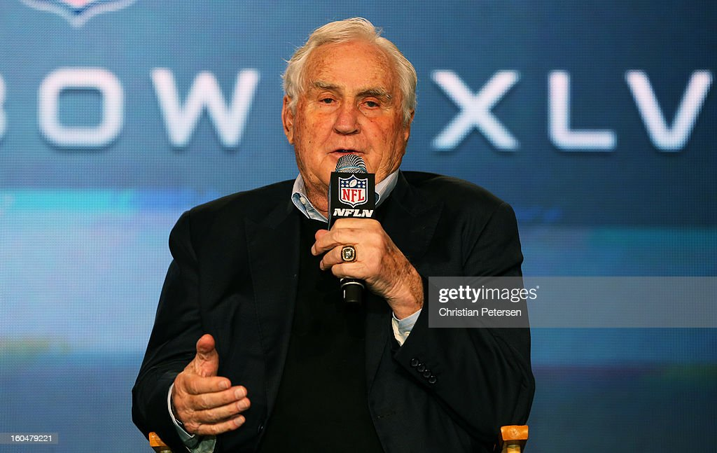 Former Miami Dolphins head coach <a gi-track='captionPersonalityLinkClicked' href=/galleries/search?phrase=Don+Shula&family=editorial&specificpeople=228324 ng-click='$event.stopPropagation()'>Don Shula</a> speaks as Head Coach Steve Specht, of St. Xavier High School in Cincinnati, is awarded the <a gi-track='captionPersonalityLinkClicked' href=/galleries/search?phrase=Don+Shula&family=editorial&specificpeople=228324 ng-click='$event.stopPropagation()'>Don Shula</a> High School Coach of the Year Award during a press conference for Super Bowl XLVII at the Ernest N. Morial Convention Center on February 1, 2013 in New Orleans, Louisiana.