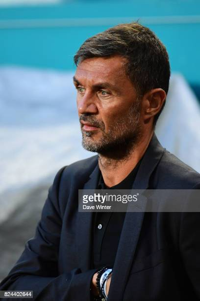 Former Milan and Italy captain Paolo Maldini who is now a part owner of Miami FC during the International Champions Cup match between Barcelona and...