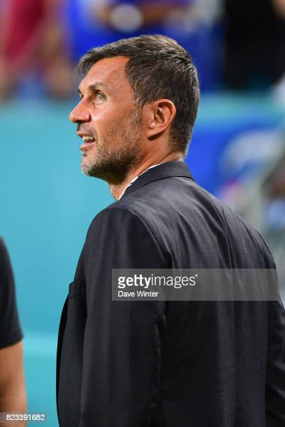 Former Milan player Paolo Maldini now coowner of North American Soccer League club Miami FC before the International Champions Cup match between...
