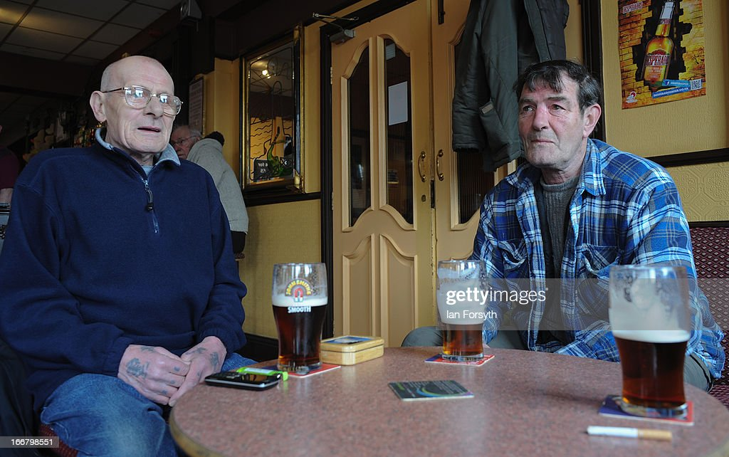 Former miners Derek Wood (L) and Les Ingram (R) enjoy a pint in the Victory Pub on the 20th anniversary of the closure of the colliery in Easington on April 17, 2013 in Easington, England. Former miners and their families are today holding a commemoration party for the closure of the pit at Easington Colliery; coinciding with the ceremonial funeral for Baroness Thatcher, who took on the mining union during the miners' strike which ultimately led to the closure of the mines and the loss of jobs. Dignitaries from around the world today join Queen Elizabeth II and Prince Philip, Duke of Edinburgh as the United Kingdom pays tribute to former Prime Minster Baroness Thatcher during a Ceremonial funeral with military honours at St Paul's Cathedral. Lady Thatcher, who died last week, was the first British female Prime Minister and served from 1979 to 1990.