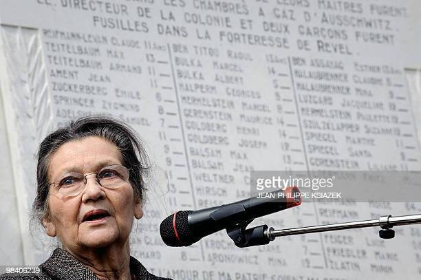 Former minister and European Parliament president and academician Simone Veil gives a speech on April 6 2010 at the Izieu children�s memorial museum...