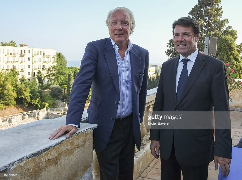 Former minister and President of the Association Brice Hortefeux (R) and mayor of Nice, former minister and General Secretary of the Association Christian Estrosi (L) during the press conference in the Gardens of Cimiez on August 24, 2012 in Nice, France.