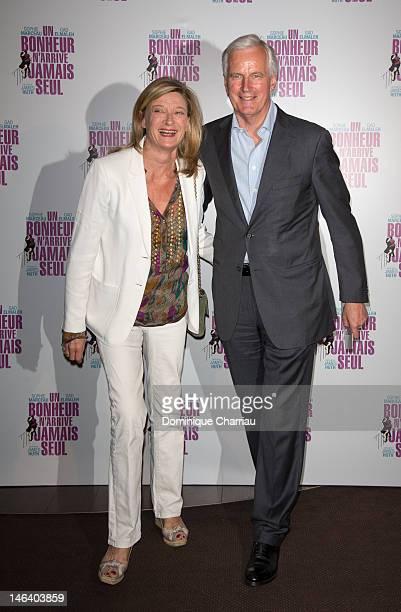 Former Minister Michel Barnier and his wife attend 'Un bonheur n'arrive jamais seul' Premiere at Cinema Gaumont Marignan on June 15 2012 in Paris...