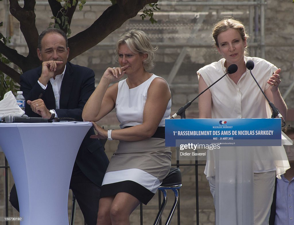 Former minister Nadine Morano (C), General secretary of UMP party (L), Jean Francois Cope behind Nathalie Kosciusko Morizet (R) giving a speech at second day of the first Rally of the association The friends of Nicolas Sarkozy on August 25, 2012 in Nice, France.