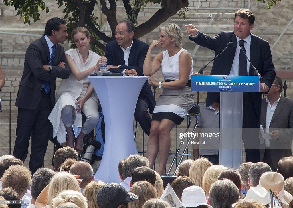 Former minister Nadine Morano (R), General secretary of UMP party (C), Jean Francois Cope and Nathalie Kosciusko Morizet (L) on stage during the speech of Christian Estrosi at second day of the first Rally of the association The friends of Nicolas Sarkozy on August 25, 2012 in Nice, France.