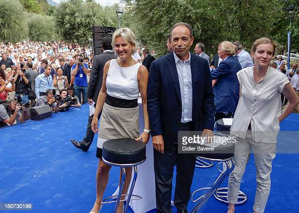 Former minister Nadine Morano General secretary of UMP party Jean Francois Cope and Nathalie Kosciusko Morizet arrive on stage at second day of the...