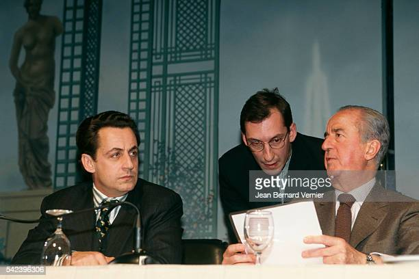Former Minister of Budget and government's spokesman Nicolas Sarkozy Former Prime Minister Edouard Balladur and his chief of staff Nicolas Bazire...