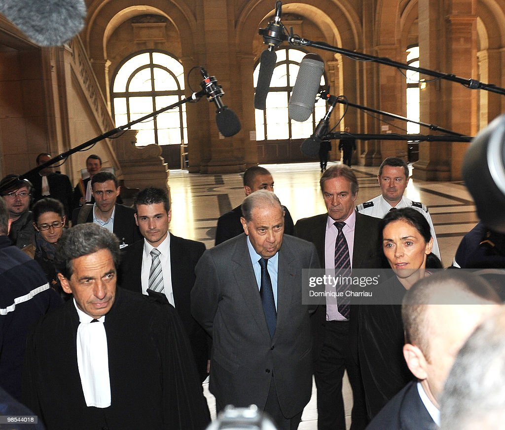 Former Minister of Interior <a gi-track='captionPersonalityLinkClicked' href=/galleries/search?phrase=Charles+Pasqua&family=editorial&specificpeople=701273 ng-click='$event.stopPropagation()'>Charles Pasqua</a> arrives at the courthouse in Paris for the opening of his trial on April 19, 2010 in Paris, France. Former French interior minister <a gi-track='captionPersonalityLinkClicked' href=/galleries/search?phrase=Charles+Pasqua&family=editorial&specificpeople=701273 ng-click='$event.stopPropagation()'>Charles Pasqua</a> goes on trial today charged with corruption while he was part of the cabinet during the 1990s. Pasqua faces three charges for alleged bribes in return for awarding a friend a licence to run a casino. Pasqua has an 18-month suspended prison sentence hanging over him for funding his election campaign for the European Parliament with proceeds of the sale from the casino.