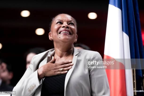 Former Minister of Justice Christiane Taubira delivers a speech during the National Investiture Convention of the candidate of the Socialist Party...