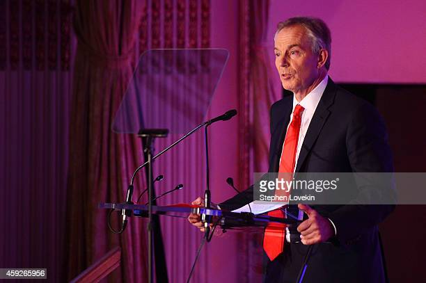 Former Minister of the United Kingdom and Global Legacy Award Honoree Tony Blair speaks on stage at the 2nd Annual Save The Children Illumination...