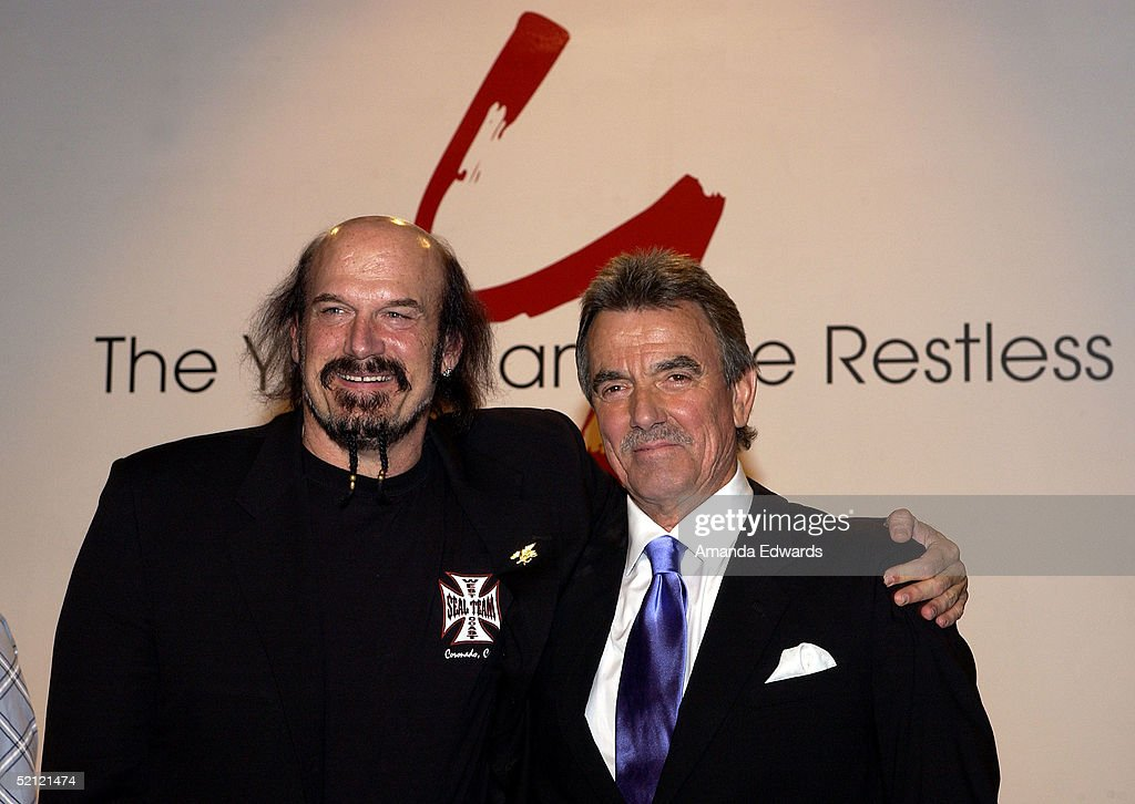 Former Minnesota Governor <a gi-track='captionPersonalityLinkClicked' href=/galleries/search?phrase=Jesse+Ventura&family=editorial&specificpeople=212956 ng-click='$event.stopPropagation()'>Jesse Ventura</a> and Eric Braeden celebrate Braeden's 25th anniversary playing legendary character Victor Newman on 'The Young and The Restless' at a special ceremony on February 1, 2005 at CBS Television City in Los Angeles, California.