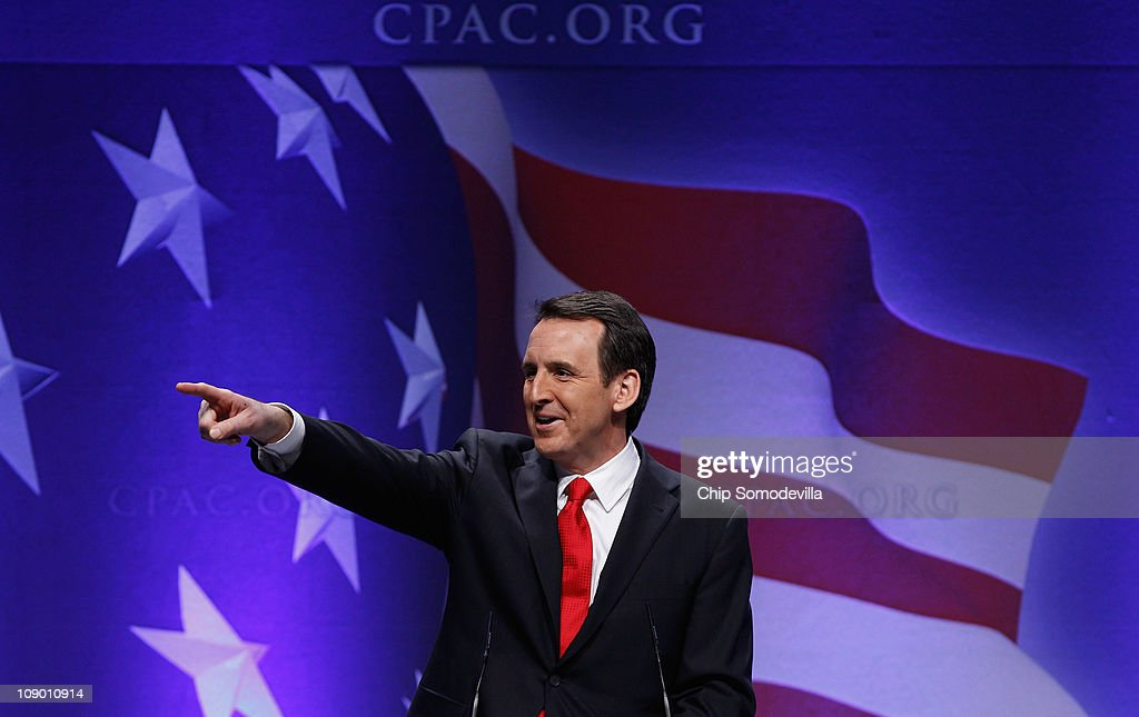 Former Minnesota Governor <a gi-track='captionPersonalityLinkClicked' href=/galleries/search?phrase=Tim+Pawlenty&family=editorial&specificpeople=2151047 ng-click='$event.stopPropagation()'>Tim Pawlenty</a> addresses the Conservative Political Action Conference at the Marriott Wardman Park February 11, 2011 in Washington, DC. A dozen potential Republican presidental hopefuls are set to address CPAC, the largest gathering of conservative activists in the country.