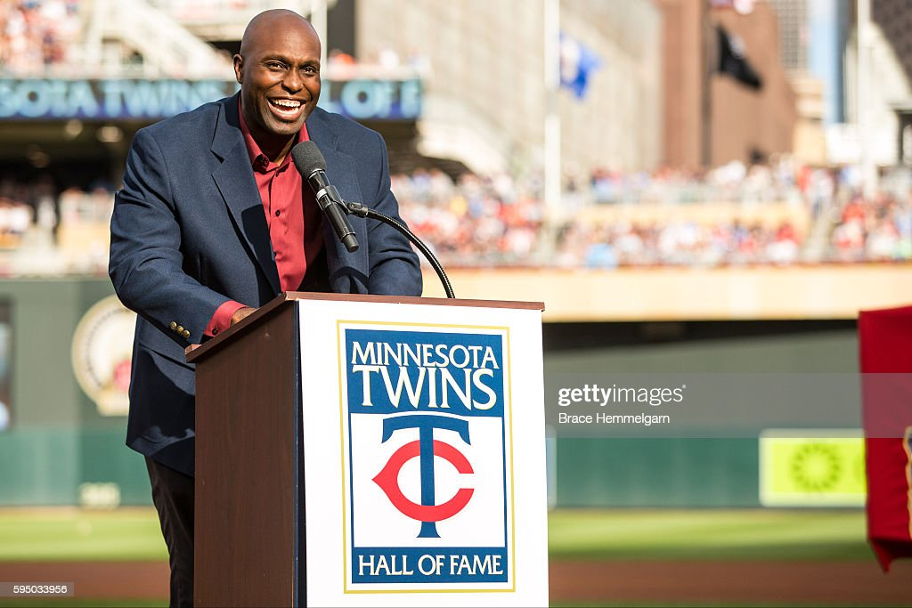Former Minnesota Twins outfielder Torii Hunter smiles after being inducted into the Twins Hall of Fame against the Cleveland Indians on July 16, 2016 at Target Field in Minneapolis, Minnesota. The Twins defeated the Indians 5-4.