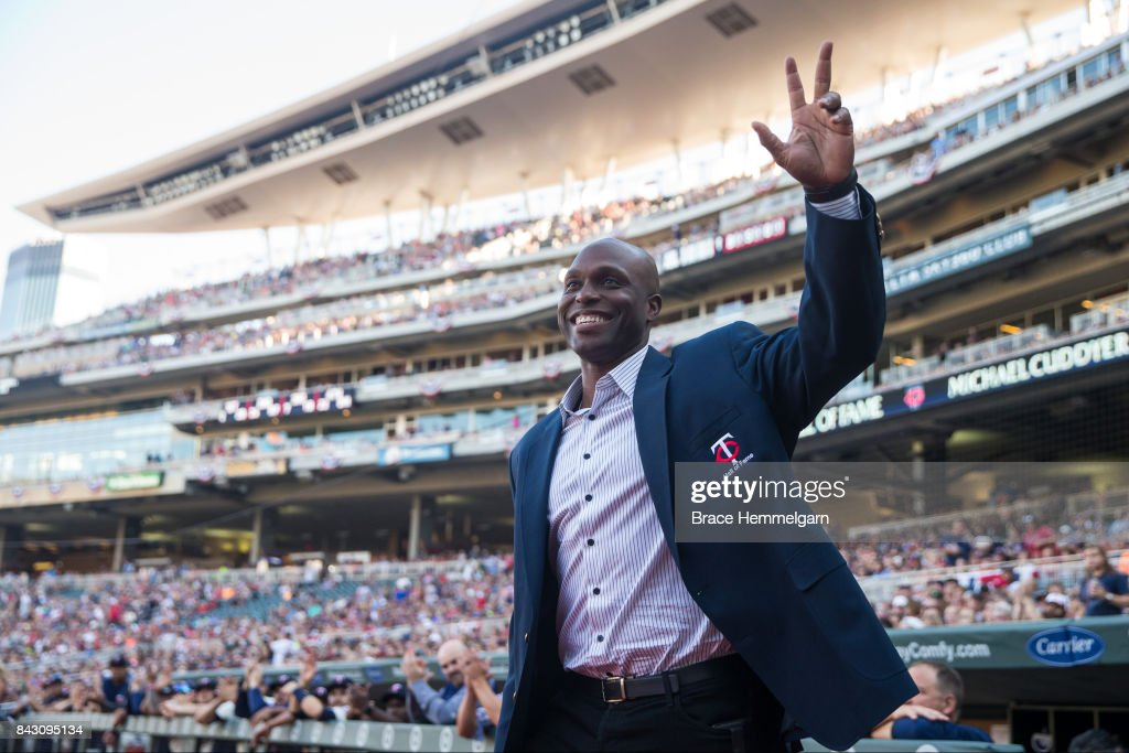 Former Minnesota Twins player Torii Hunter prior to the game against the Arizona Diamondbacks on August 19, 2017 at Target Field in Minneapolis, Minnesota. The Twins defeated the Diamondbacks 5-0.