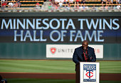 Former Minnesota Twins player Torii Hunter speaks as he is inducted into the Minnesota Twins Hall of Fame in a ceremony before the game between the...