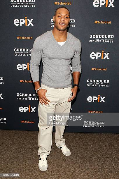Former Minnesota Vikings player Visanthe Shiancoe attends the EPIX screening of the original documentary 'Schooled The Price of College Sports' at...