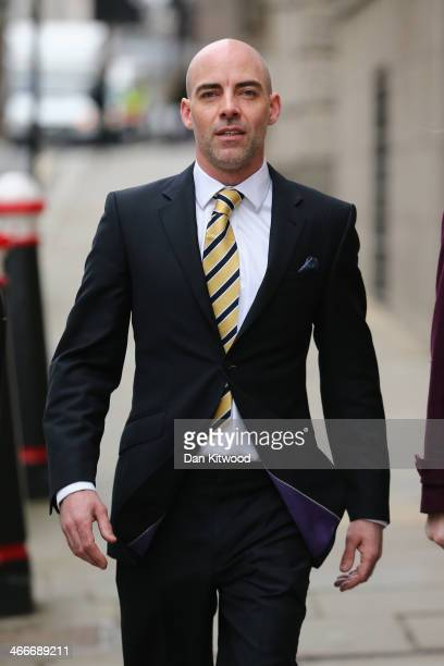 Former Mirror and News of the World reporter Dan Evans arrives for the phonehacking trial at the Old Bailey on February 3 2014 in London England Mr...