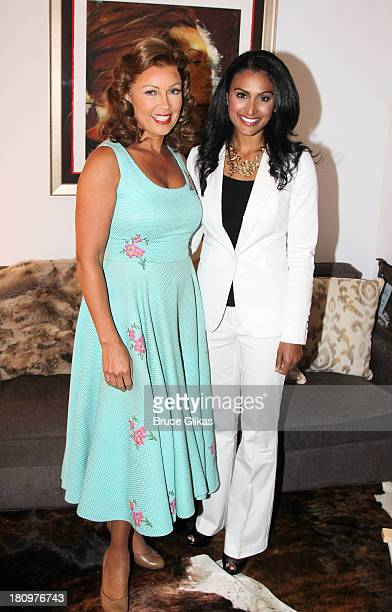 Former Miss America/actress Vanessa Williams and Miss America 2013 Nina Davuluri pose backstage at 'The Trip to Bountiful' on Broadway at The Stephen...