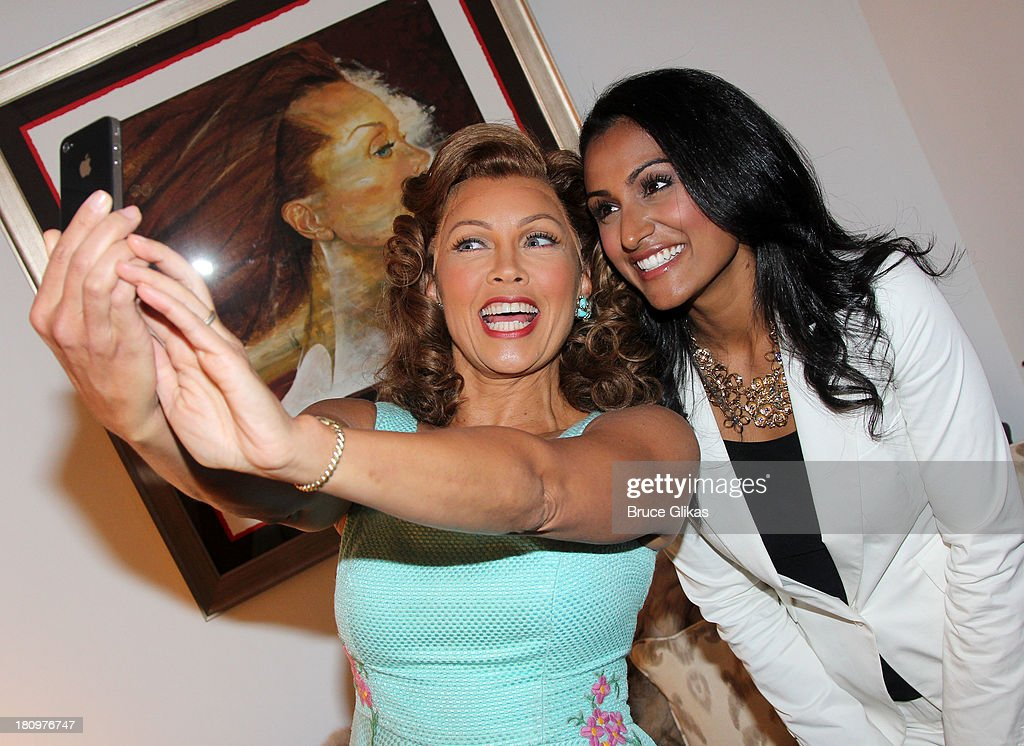 Former Miss America/actress Vanessa Williams and Miss America 2013 <a gi-track='captionPersonalityLinkClicked' href=/galleries/search?phrase=Nina+Davuluri&family=editorial&specificpeople=11331921 ng-click='$event.stopPropagation()'>Nina Davuluri</a> pose backstage at 'The Trip to Bountiful' on Broadway at The Stephen Sondheim Theater on September 18, 2013 in New York City.