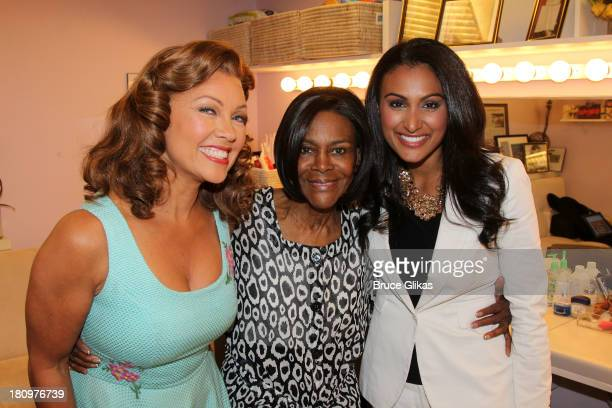 Former Miss America/actress Vanessa Williams Cicely Tyson and Miss America 2013 Nina Davuluri pose backstage at 'The Trip to Bountiful' on Broadway...