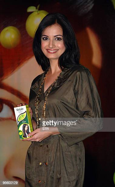 Former Miss AsiaPacific Bollywood film actress and brand ambassador for Veola � Amla hair oil Dia Mirza unveils the premium range of Veola hair oils...