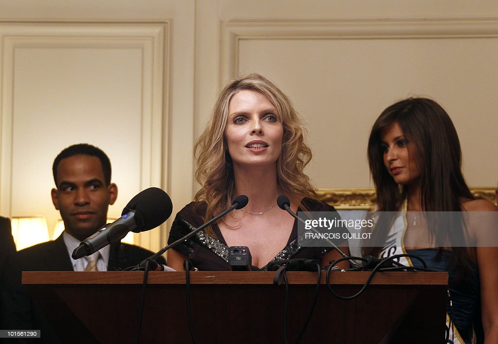 Former Miss France and Miss France society new president Sylvie Tellier speaks during a press conference to present next Miss France 2011 pageant on June 2, 2010 in Paris. The election is schedule next december in Caen, Normandy.