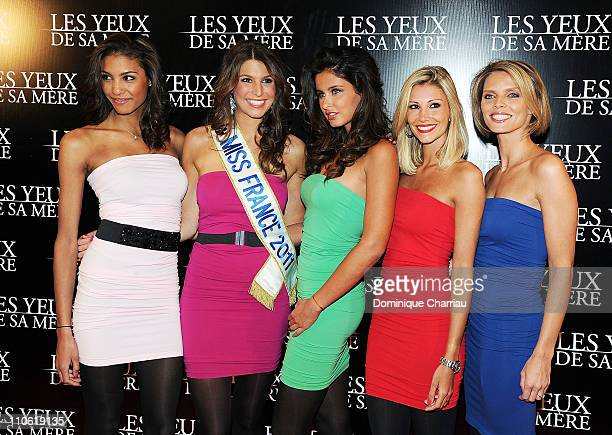 Former miss France Chloe Mortaud Miss France 2011 Laury Thillman Former Miss France Malika Menard Former Miss France Alexandra Rosenfeld and Former...
