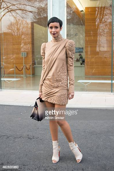 Former Miss France Sonia Rolland on day 3 of Paris Haute Couture Fashion Week Spring/Summer 2015 on January 27 2015 in Paris France