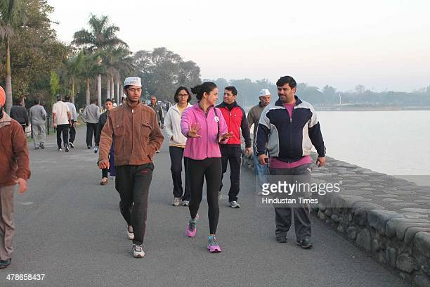 Former Miss India and AAP candidate Gul Panag campaigning for upcoming Lok Sabha elections at Sukhana Lake on March 14 2014 in Chandigarh India Gul...