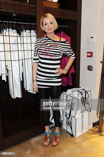 Former Miss Italia Manila Nazzaro attends the Ester Maria Rivaroli Flagship Store Opening on March 25 2010 in Rome Italy